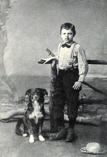 Jack London 9 éves korában kutyájával